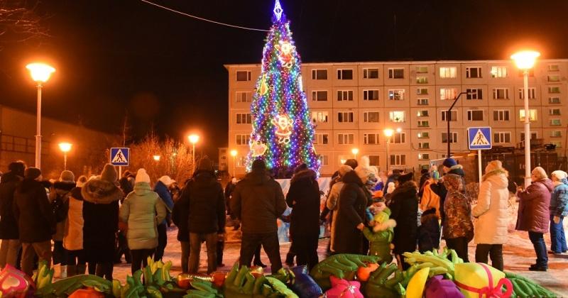 В Магадане торжественно открыли первые новогодние елки (Фото)