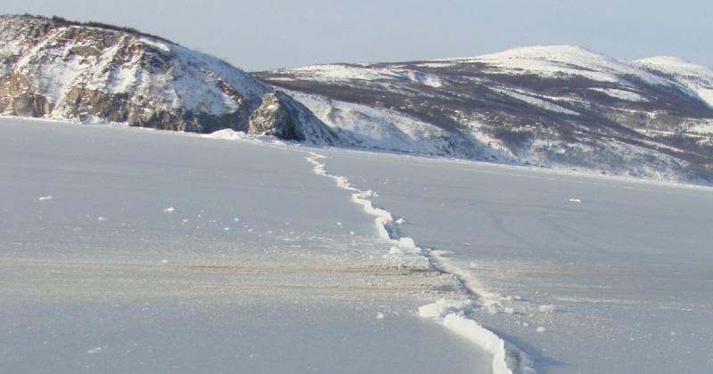 На ледовом поле бухты Гертнера  отмечены свежие влажные трещины