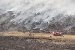 Открытого огня на территории свалки нет, идет задымление с подветренной стороны